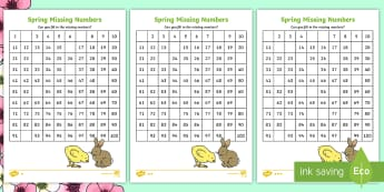 Spring-Themed Missing Numbers Number Square - spring, 100 square, number square, missing numbers, differentiated missing numbers square,