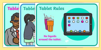 Using Tablets Safely Display Posters - using tablets safely, ipad display poster, using ipads poster, display posters, ipad display posters, ipad safety