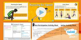 PlanIt - PE Year 5 - Athletics Lesson 2: Running for Speed Lesson Pack - PE, PlanIt, Y5, Athletics, sprinting, sprint start, running, reaction time, speed, running technique