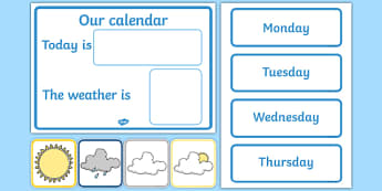 Daily Calendar/Weather Chart - Weather calendar, Weather chart, weather, calendar, months, days, weather display, date display, rain, sun, snow, fog, cloud