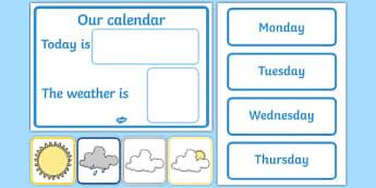 Calendrier : Les jours de la semaine et la météo - Anglais LV