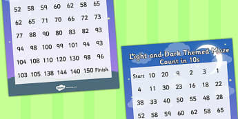 Light and Dark Counting in 10s Maze - light, dark, number, maths
