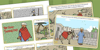 The Good Samaritan Visual Aids (4 per A4) - the good samaritan, samaritan, help, helping, jewish, thieves, bible story, Jesus, priest, Levite, kind, good samartian