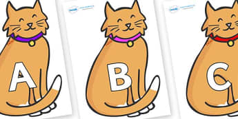 A-Z Alphabet on Pussy Cats - A-Z, A4, display, Alphabet frieze, Display letters, Letter posters, A-Z letters, Alphabet flashcards