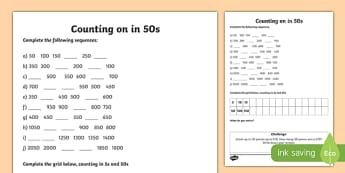 Counting in 50s Worksheet - counting, worksheet, 50, numbers