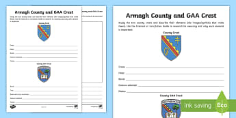 Armagh County and GAA Crest Activity Sheet - worksheet, GAA crest, county, crest, coat of arms, Armagh,