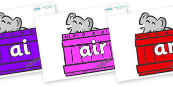 Phase 3 Phonemes on Elephants (Crates) to Support Teaching on Dear Zoo - Phonemes, phoneme, Phase 3, Phase three, Foundation, Literacy, Letters and Sounds, DfES, display