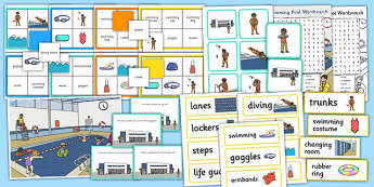 Swimming Pool Vocabulary and Comprehension Pack - pool, pack
