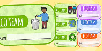Eco Team Editable Badges - badge, edit, recycle, reuse, stickers