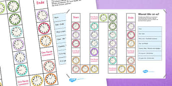 Telling the Time Board Game German - time, clock, german, game, activity, vocabulary, deutsche, Germany