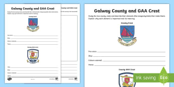 Galway County and GAA Crest Activity Sheet - GAA Football All-Ireland Senior Championship, GAA Hurling All-Ireland Senior Championship, GAA crest