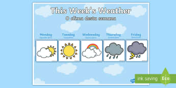 Weekly Weather Recording Chart English/Portuguese - calendar, weekly weather calendar, weakly weather chart, weekly weather display, this weeks weather,
