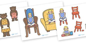 Goldilocks and the Three Bears Story Cut-Outs - Goldilocks, cut out, cut outs, traditional tales, tale, fairy tale, three bears, porridge, cottage, beds