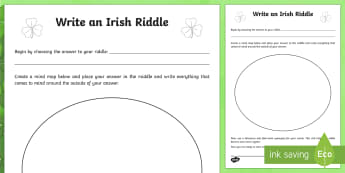 How to write an Irish Riddle Planning Template - NI St. Patrick's Day Resources KS2