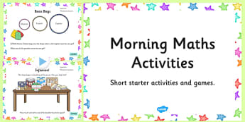 Morning Maths Activities PowerPoint - morning, maths, activities