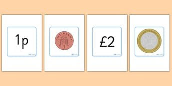 British (UK) Coin Flashcards - Money, pound, pence, coin,