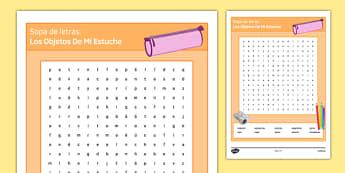 Los objetos de mi estuche In My Pencil Case Spanish Word Search - spanish, wordsearch, sopa de letras, pencil case items, estuche, ficha, worksheet, clase