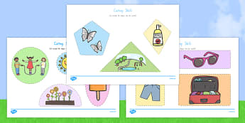 Summer Themed Cutting Skills Activity Sheets - nz, new zealand, cut, fine motor skills