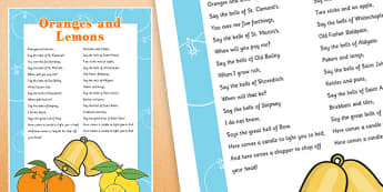 Oranges and Lemons Nursery Rhyme Poster - oranges and lemons, nursery rhyme, poster, display