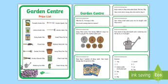 Garden Centre Maths Challenge Cards KS2 - garden centre role play, garden centre, garden centre numeracy, garden centre challenge cards, maths questions