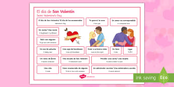 Valentine's Day Word Mat Spanish Translation - romance, february, 14th, fourteenth, ks3, secondary, language, mfl, modern foreign language, topic, spain