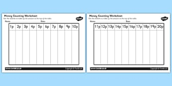 Money Counting and Sorting Activity Sheet - money, money worksheet, money counting worksheet, working with money, coins, coins worksheet, adding coins, addition