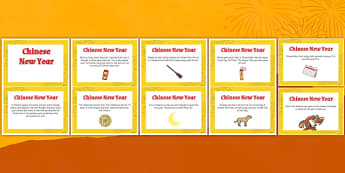 Chinese New Year Display Fact Cards - celebrate, celebrations