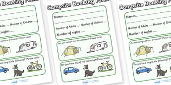 Campsite Booking Form - Campsite, role play, camping, booking form, book, pitch, caravan, tent, pegs, campsite booking, holidays, holiday