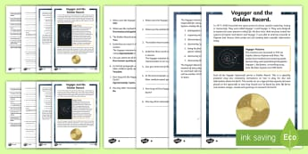 Voyager and the Golden Record Differentiated Reading Comprehension Activity - Literacy, reading, comprehension, ,Australia