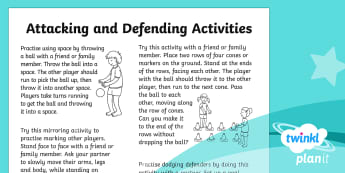PlanIt PE Year 1 Attacking and Defending Home Learning Tasks - Attacking and Defending, team, game, sport, y1, year 1, ks1, pe, physical, education, homework