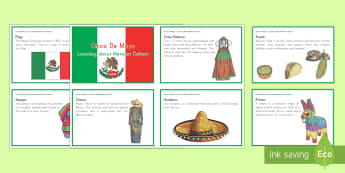 Cinco De Mayo Learning About Mexican Culture Fact Cards - Cinco de Mayo, sombrero, charro, china poblana, piñata, mexico, Mexican culture, Mexican heritage,