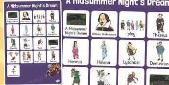A Midsummer Nights Dream Vocabulary Mat - shakespeare, vocabulary