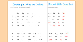 Counting in Tenths and Hundredths Activity Sheet - counting, tenths, hundredths, activity, sheet, worksheet