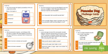 Y6 Pancake Day Maths Challenge Cards - pancake day, shrove tuesday, maths, mathematics, challenge cards, year 6, y6, ks2, uks2, upper ks2