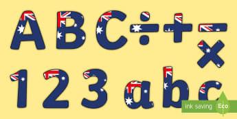 Australia Flag Themed Display Lettering - Australia Flag Themed Title Display Lettering - australian flag, australia, themed, title, display l