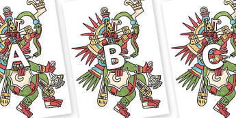 A-Z Alphabet on Kukulcan - A-Z, A4, display, Alphabet frieze, Display letters, Letter posters, A-Z letters, Alphabet flashcards
