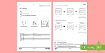 KS3 Compounds Homework Activity Sheet - Homework, compound, compounds, mixture, mixtures, element, elements, worksheet, conservation of mass