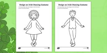 ROI Design an Irish Dancing Costume Colouring Page - ROI - St. Patrick's Day Resources, Irish Dancing, Costume design,Irish