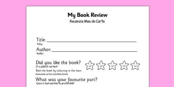 Book Review Writing Frame Romanian Translation - romanian, book review, writing frame