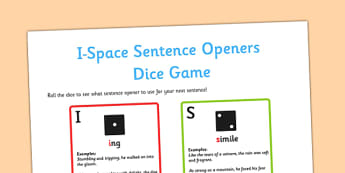 I Space Sentence Openers Dice Game - space, sentence, openers, dice, game