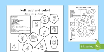 2D Shapes Roll the Dice and Color US English/Spanish (Latin) - 2D Shapes Roll and Colour Dice Addition Activity - 2D, shapes, shpes, 2d shaes, +, 2Dshape, adition,