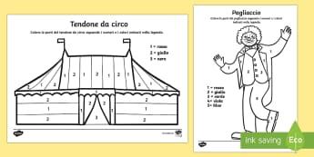 Il Circo Colora con i Numeri - colorare, colori, con, i , numeri, italiano, italian, circo, circense, pagliaccio, tenda
