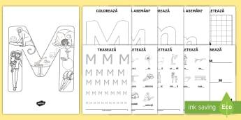 Consolidarea literei M Broșură  - alfabetul, alfabetar, litere, sunete, grafisme