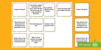 How to Make a Hangi Sequencing Cards  - Maori Culture and Traditions, kai, food, Hāng, Maori, cooking, sequencing, ordering, instructions