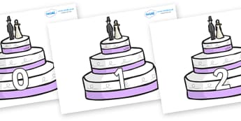 Numbers 0-100 on Wedding Cakes - 0-100, foundation stage numeracy, Number recognition, Number flashcards, counting, number frieze, Display numbers, number posters