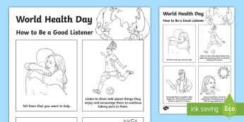 World Health Day How to Be a Good Listener A4 Display Poster - CfE World Health Day April 7th, depression, helping others, mental health, listening,Scottish