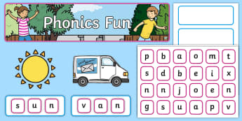 CVC Interactive Display Pack - CVC, word, spell, segment, make, create, blend, phonics, phase 2, phase 3,