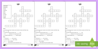 igh Sound Differentiated Crossword - vowel diagraph, reading, first class, second class, 1st class, 2nd class, jolly phonics, jolly gramm