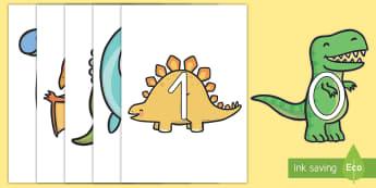 Números 0-20 de exposición en dinosaurios - Dinosaurios, pre-historia, dinos, tyranosaurio, estegosaurio, triceratops, proyectos, aprendizaje ba