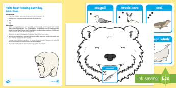 Polar Bear Feeding Posting Busy Bag Resource Pack for Parents - Polar Regions, arctic, antarctic, polar animals, arctic animals, dice